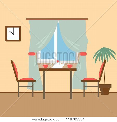 Living and dining rooms with furniture. Flat style vector illust