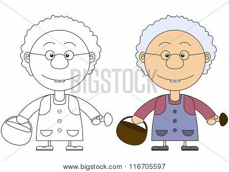 The Grandmother's Illustration With A Basket And Mushrooms