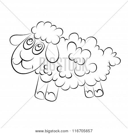 Illustration Of A Cheerful Lamb With Blue Eyes