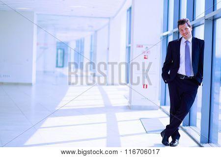 Portrait of businessman standing near window in office