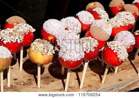 Candy apples for sale in market