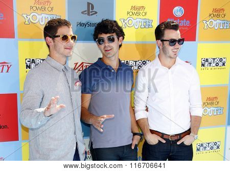 Nick Jonas, Joe Jonas and Kevin Jonas at the Variety's Power Of Youth held at the Paramount Studios in Hollywood, USA on September 15, 2012.