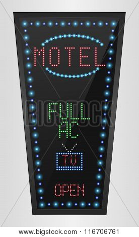 Retro arrow golden light banner with the motel blue background