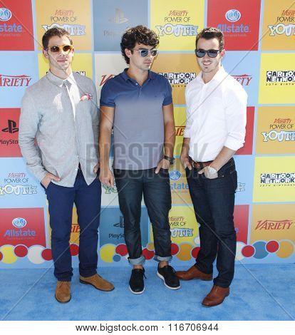 Joe Jonas, Nick Jonas and Kevin Jonas at the Variety's Power Of Youth held at the Paramount Studios in Los Angeles, United States on September 15, 2012.