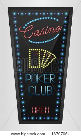 Retro sign with blue lights and the word poker club
