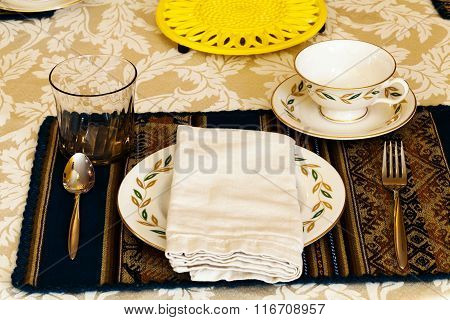 Elegant Table Place Setting For The Holiday Meal