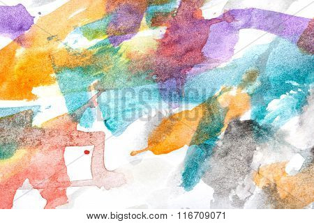 Watercolor Paint Abstract. Multicolored Chaos.