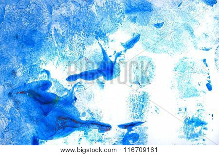 Watercolor Paint Abstract. Blue Shades.