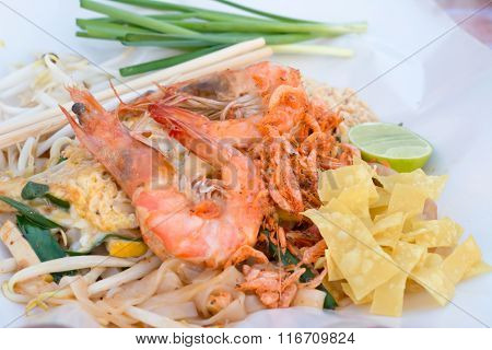 Fresh Shrimps Pad Thai, Thai Street Food, Thai Style Noodles. On Paper.