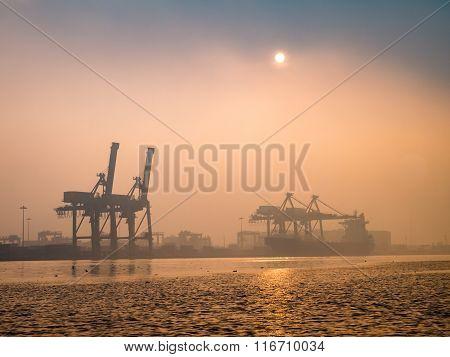 Khlong Toei Port Among The Mist In The Morning