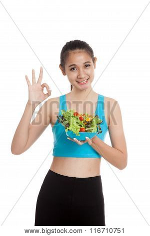 Beautiful Asian Healthy Girl Show Ok With Salad