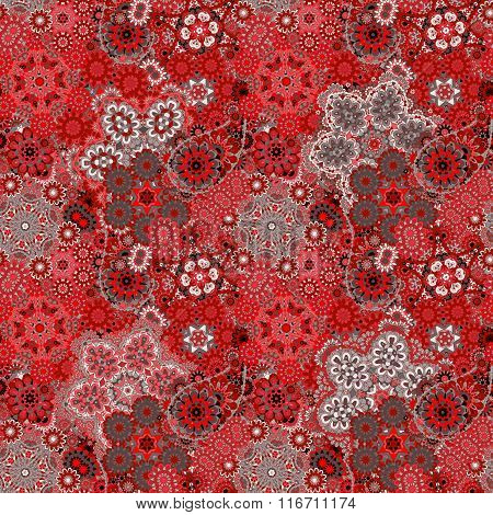 Traditional Oriental Paisley Pattern. Seamless Vintage Red Gray Flowers Background.