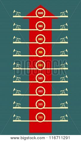 Oil Derrick Icons And Abstract Price List. Rise Up Arrow