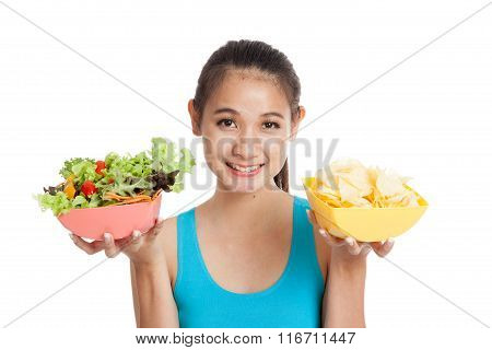 Beautiful Asian Healthy Girl Salad And Potato Chips