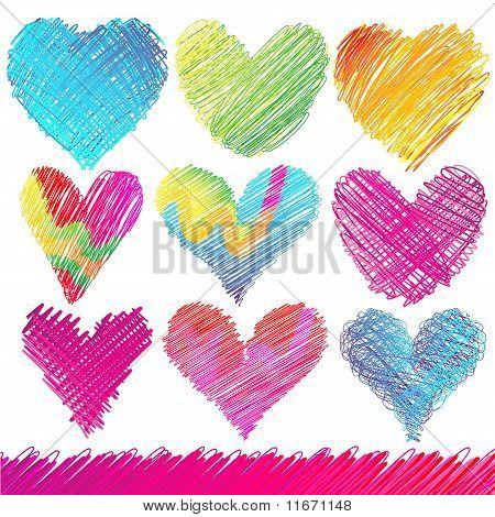 Design set: Colorful Valentine's Day Hearts