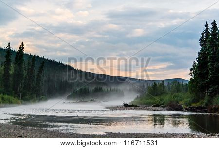 Foggy River After A Heavy Thunderstorm