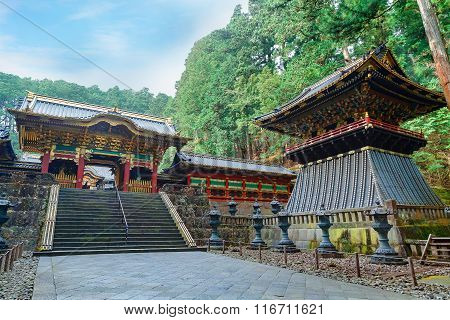 Yashamon Gate with a Belfry at Taiyuinbyo - the Mausoleum of Shogun Tokugawa Iemitsu in Nikko, Japan