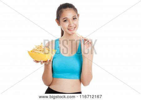 Beautiful Asian Healthy Girl Eat  French Fries