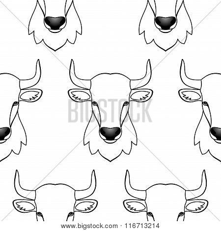Bull seamless pattern