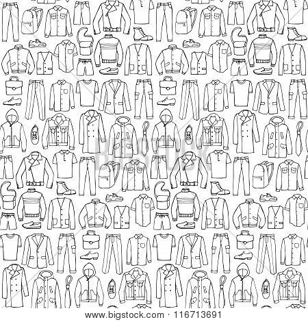 Doodle seamless pattern with man clothes