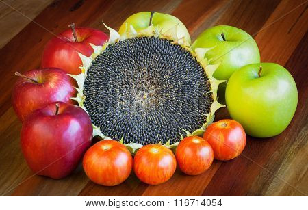 Apples, Tomatoes And Sunflower Still Life