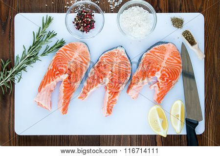 steaks of salmon