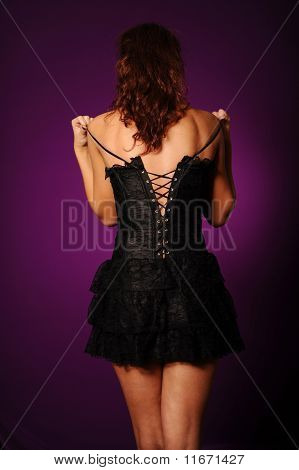 Beauty Woman In Black Corset
