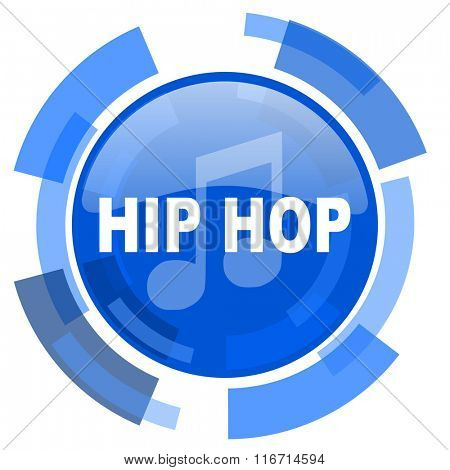 hip hop blue glossy circle modern web icon