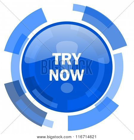 try now blue glossy circle modern web icon