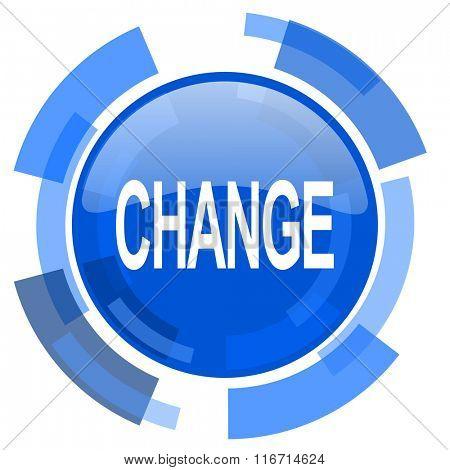 change blue glossy circle modern web icon