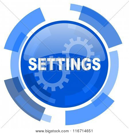 settings blue glossy circle modern web icon