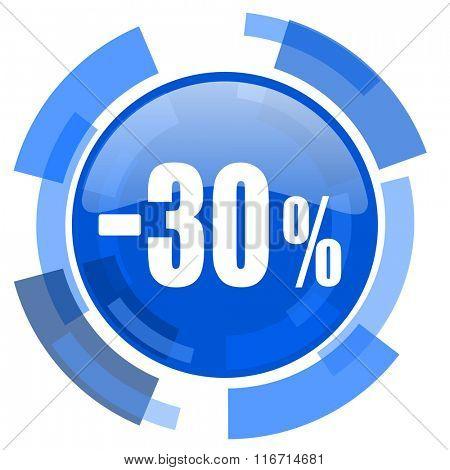 30 percent sale retail blue glossy circle modern web icon