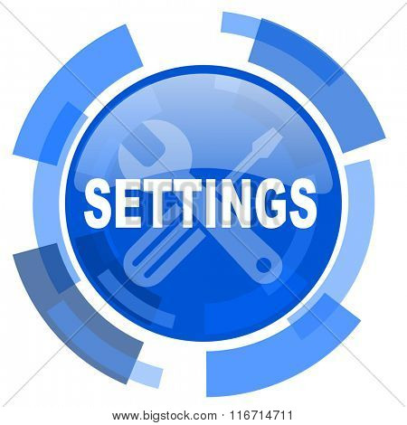 settings blue glossy circle modern web icon