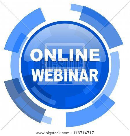 online modern webinar blue glossy circle modern web icon