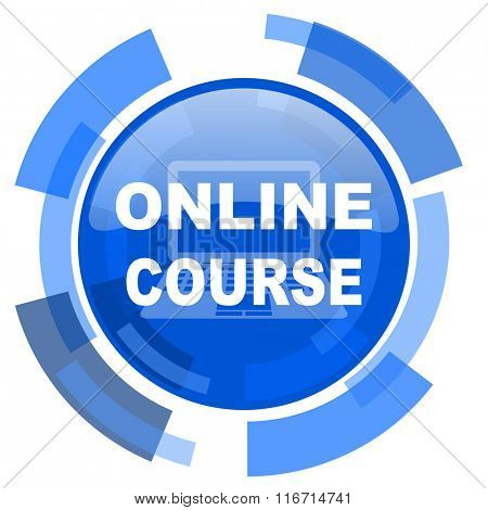 online course blue glossy circle modern web icon