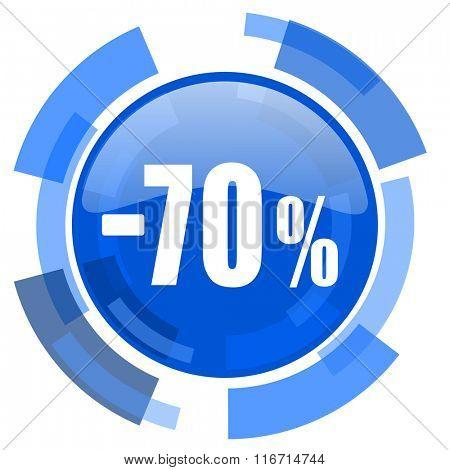70 percent sale retail blue glossy circle modern web icon
