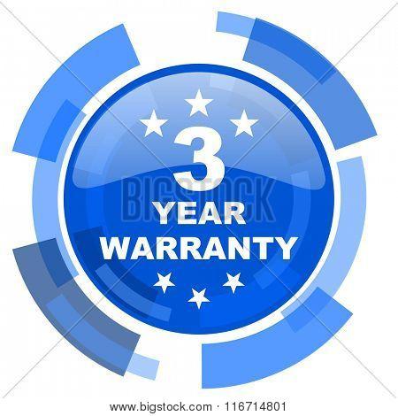 warranty guarantee 3 year blue glossy circle modern web icon