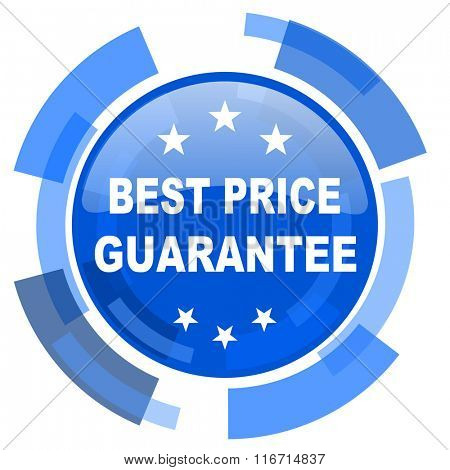 best price guarantee blue glossy circle modern web icon
