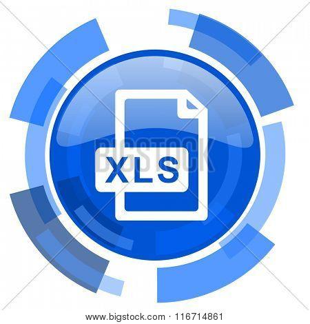 xls file blue glossy circle modern web icon