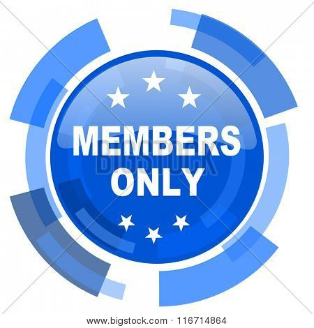members only blue glossy circle modern web icon