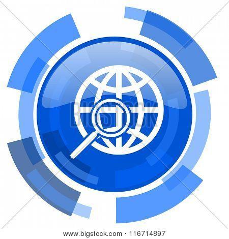 search blue glossy circle modern web icon