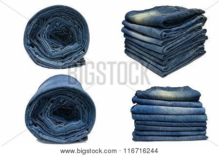 Blue jeans rolled and folded.