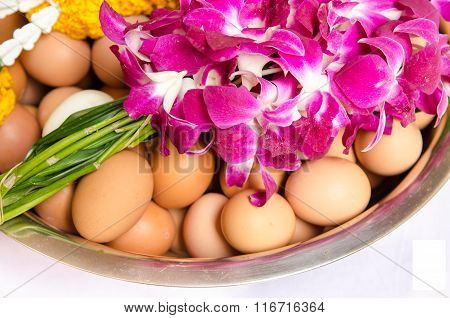 Fresh Eggs And Flower In A Bowl.