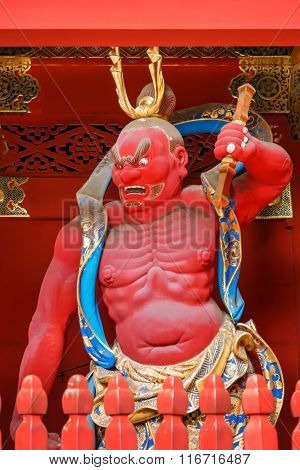 NIKKO JAPAN - NOVEMBER 17 2015: Nio - the Benevolent Kings at Nio-mon Gate of Taiyuinbyo - the Mausoleum of Shogun Tokugawa Iemitsu the grandson of Ieyasa