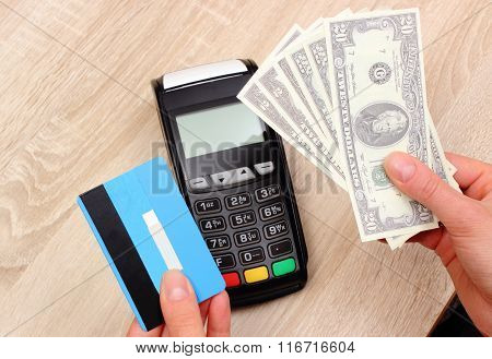 Currencies Dollar With Credit Card And Payment Terminal In Background, Finance Concept