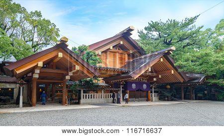 NAGOYA JAPAN - NOVEMBER 18 2015: Atsuta Shrine is one of Shinto's most important shrines. It enshrines the Sun Goddess Amaterasu and stores the sacred sword Kusanagi