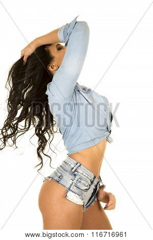 Cowgirl In Denim Shirt And Shorts Head Back