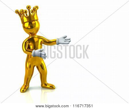 Golden Cartoon Character Man With Crown Presenting Something
