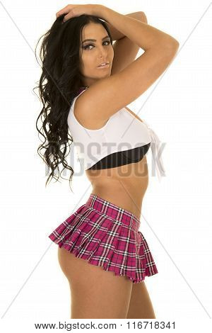 School Girl Short Skirt Side Stand Hands In Hair
