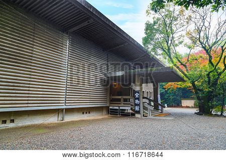 NAGOYA JAPAN - NOVEMBER 18 2015: The Bunka-den treasure storehouse museum located within the grounds of Atsuta Shrine over 4000 pieces displayed in the museum